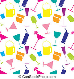 alcoholic beverages seamless pattern