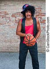Brother in the hood with basketbal - Humorous stereotyical...