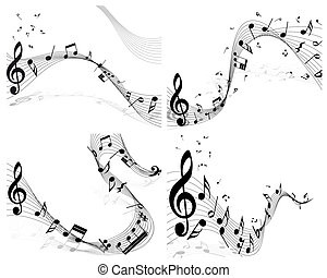 Musical note staff set. Four images. Vector illustration.
