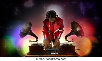 sexy young woman djs using two retro antique gramophones....