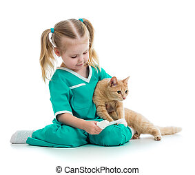Cute kid playing doctor with cat isolated