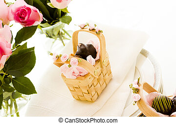Wedding favors - Miniature picnic baskets favor boxes filled...