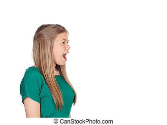 Beautiful young girl with green t-shirt screaming out loud...