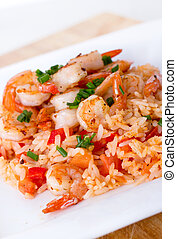 prepared shrimp on rice