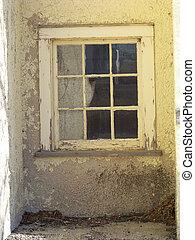 rustique, fenêtre, mur, abandonnés, public,...