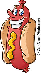 Hot Dog Cartoon Character - A happy smiling hot dog cartoon...