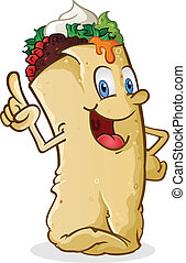 Burrito Cartoon Character Pointing - A happy smiling mexican...