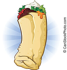 Burrito Cartoon Illustration - A delicious mexican burrito...