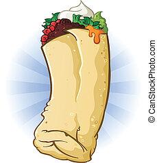 Burrito Cartoon Illustration - A delicious mexican burrito...
