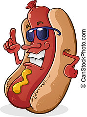Hot Dog Cartoon Wearing Sunglasses - A hot dog cartoon...