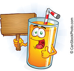 Orange Juice Character Holding Sign - A delicious glass of...