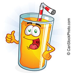 Orange Juice Cartoon Thumbs Up - A delicious glass of orange...