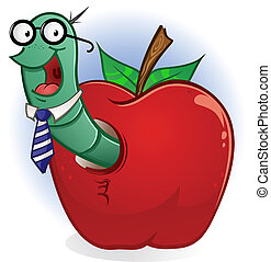 Worm Nerd Cartoon With Apple - A cute nerdy bookworm living...