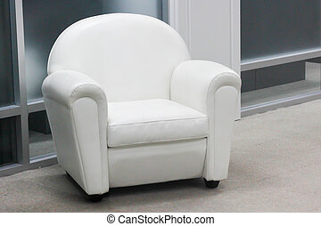 Leather white armchair