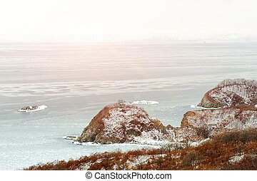 Beautiful scenic view of coast Japanese sea in winter.
