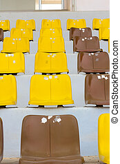 Seat grandstand yellow brown