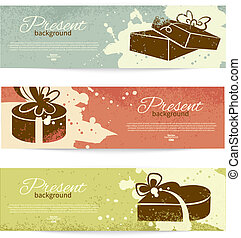 Set of vintage banners with present background with gift box...