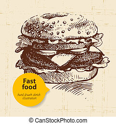 Vintage fast food background with color bubble. Hand drawn...