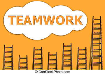 Teamwork,wordding about success of business