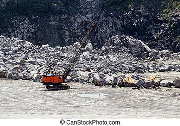 Crane at a rock quarry