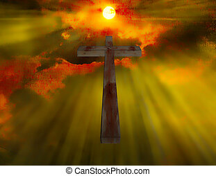 Wood Cross hangs in sky