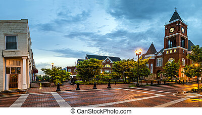Panoramic view of town square in Dallas, Georgia, after...