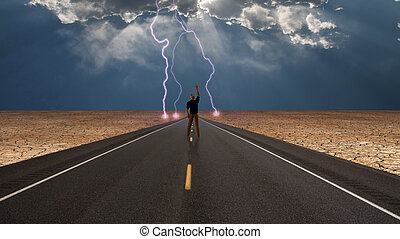 Man on road confronts storm