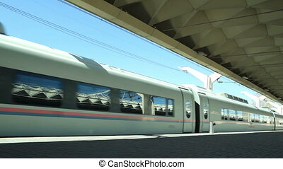 High-speed commuter train - High-speed commuter train leaves...