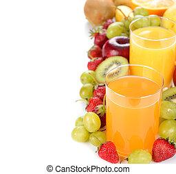 fruit juice - Fresh juice and fruit on a white background