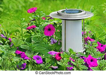 Solar powered garden lamp.