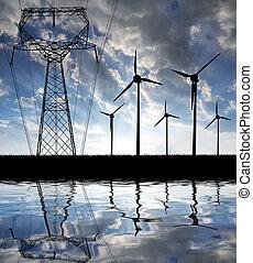 viento, turbinas, potencia, línea