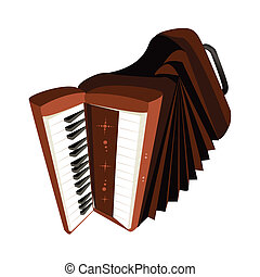 A Retro Accordion Isolated on White Background - Music...