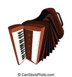 egy, retro, harmonika, elszigetelt, fehér,...
