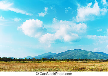 Landscape with mountain views, blue sky and beautiful clouds...