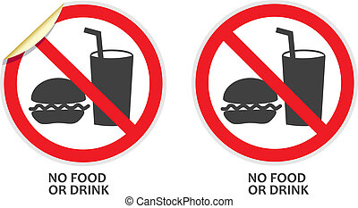 No Food or Drink Sign - No food or drink signs in two vector...