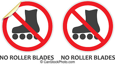 No Rollerblades Sign - No rollerblades signs in two vector...