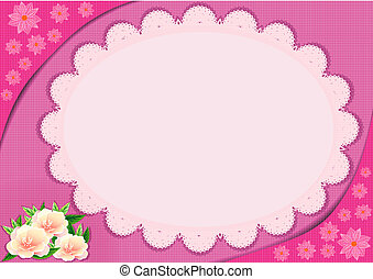 Lace frame with pink flowers, file illustration eps10.