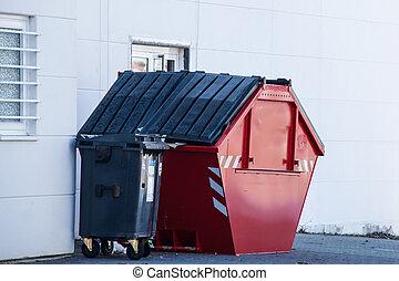 red dumpster bin
