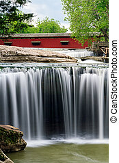 Covered Bridge and Waterfall - The red Cataract Covered...