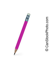 Pencil - Pink wooden pencil isolated on a white background