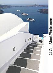 Stairway of Santorini island in Greece