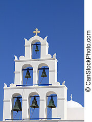 Belfry of classical church of Santorini island in Greece