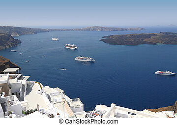 Cruise ships on Mediterranean sea in Santorini island
