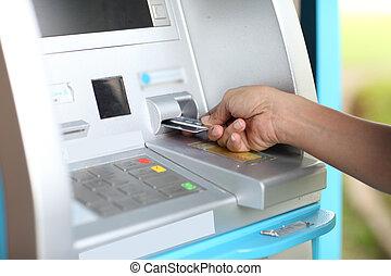 fim, cima, ATM, retirar, seu, Dinheiro, exterior