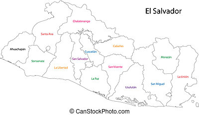 Outline El Salvador map - Administrative divisions of El...