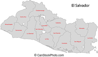 Grey El Salvador map - Administrative divisions of El...