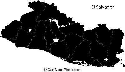 Black El Salvador map with department borders