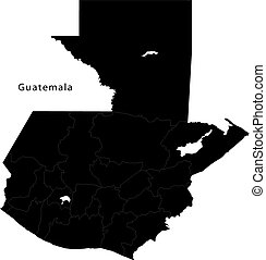 Black Guatemala map with department borders