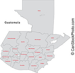 Grey Guatemala map - Administrative divisions of Guatemala