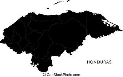 Black Honduras map with department borders